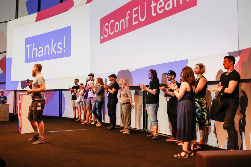The JSConf EU team on stage
